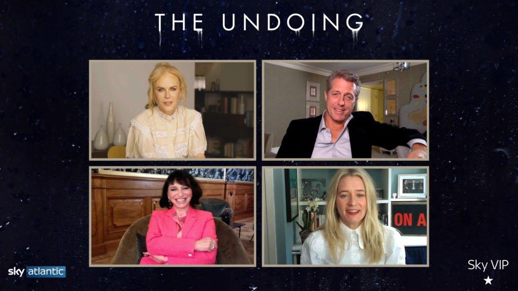 Nicole Kidman, Hugh Grant, Suzanne Bier, and Edith Bowman participating in a Q&A via Zoom.