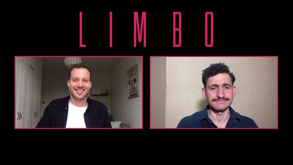 "Webcam shots of Ben Sharrock and Amir El-Masry on a ""Limbo"" branded background"