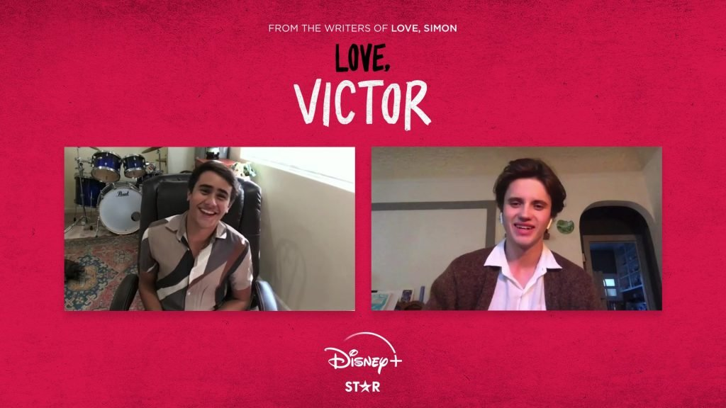"""Webcam shots of Michael Cimino and George Sear on a """"Love, Victor"""" branded background"""