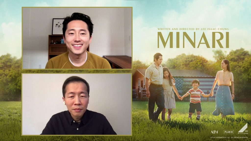 """Webcam shots of Lee Isaac Chung and Steven Yeun on a """"Minari"""" branded background"""