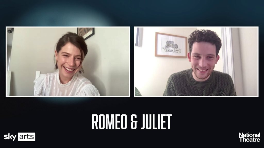 """Webcam shots of Jessie Buckley and Josh O'connor on a """"Romeo and Juliet"""" branded background"""
