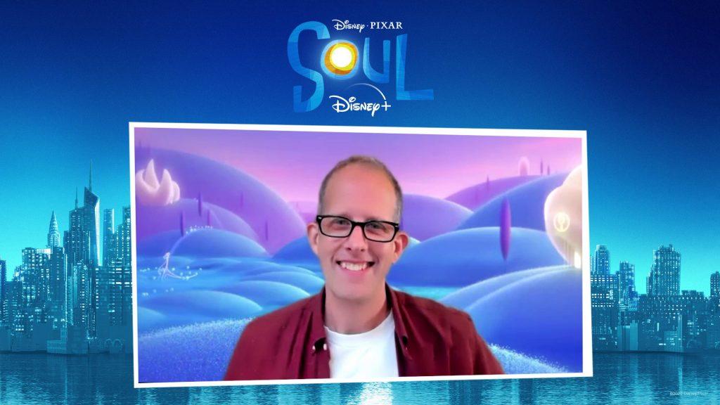 "Webcam shot of Pete Docter on a ""Soul"" branded background"